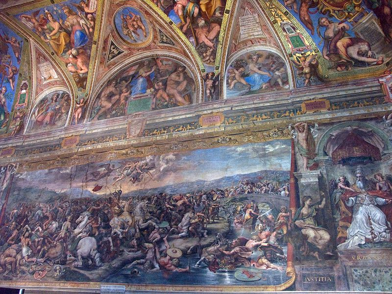 Battle of Milvian Bridge by Giulio Romano 1520-24