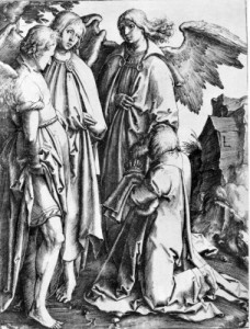Abraham and The Three Angels by Lucas can Leyden 1494-1553