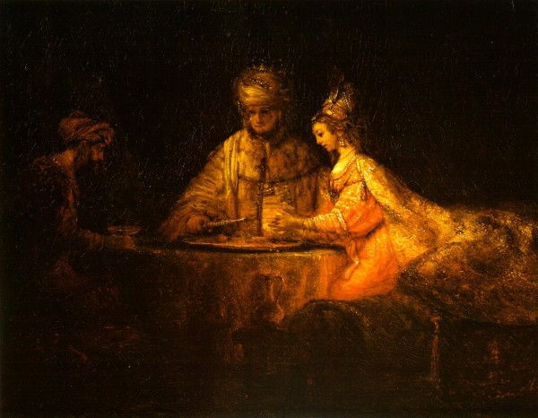 Haman and Ahasuerus visit Esther by Rembrandt 1606-1669