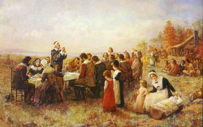 The First Thanksgiving by Jennie Augusta Brownscombe  cir. 1914