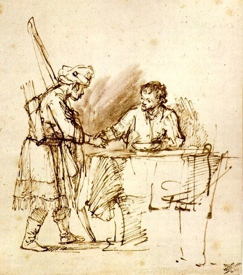 Esau Sells his Birthright to Jacob by Rembrandt Cir 1648-50