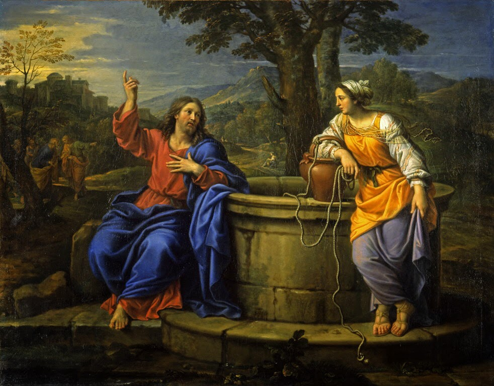Christ and the Woman of samaria by Pierre Mignard Cir 17th Century
