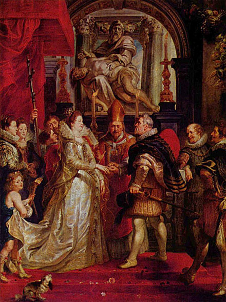 The Wedding of Marie de' Medici to King Henri IV By Rubens Cir 1622-25